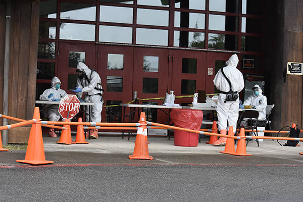 Patients drove up to the Akalat Center and were immediately greeted by a member of the National Guard dressed in HAZMAT. Submitted Photos